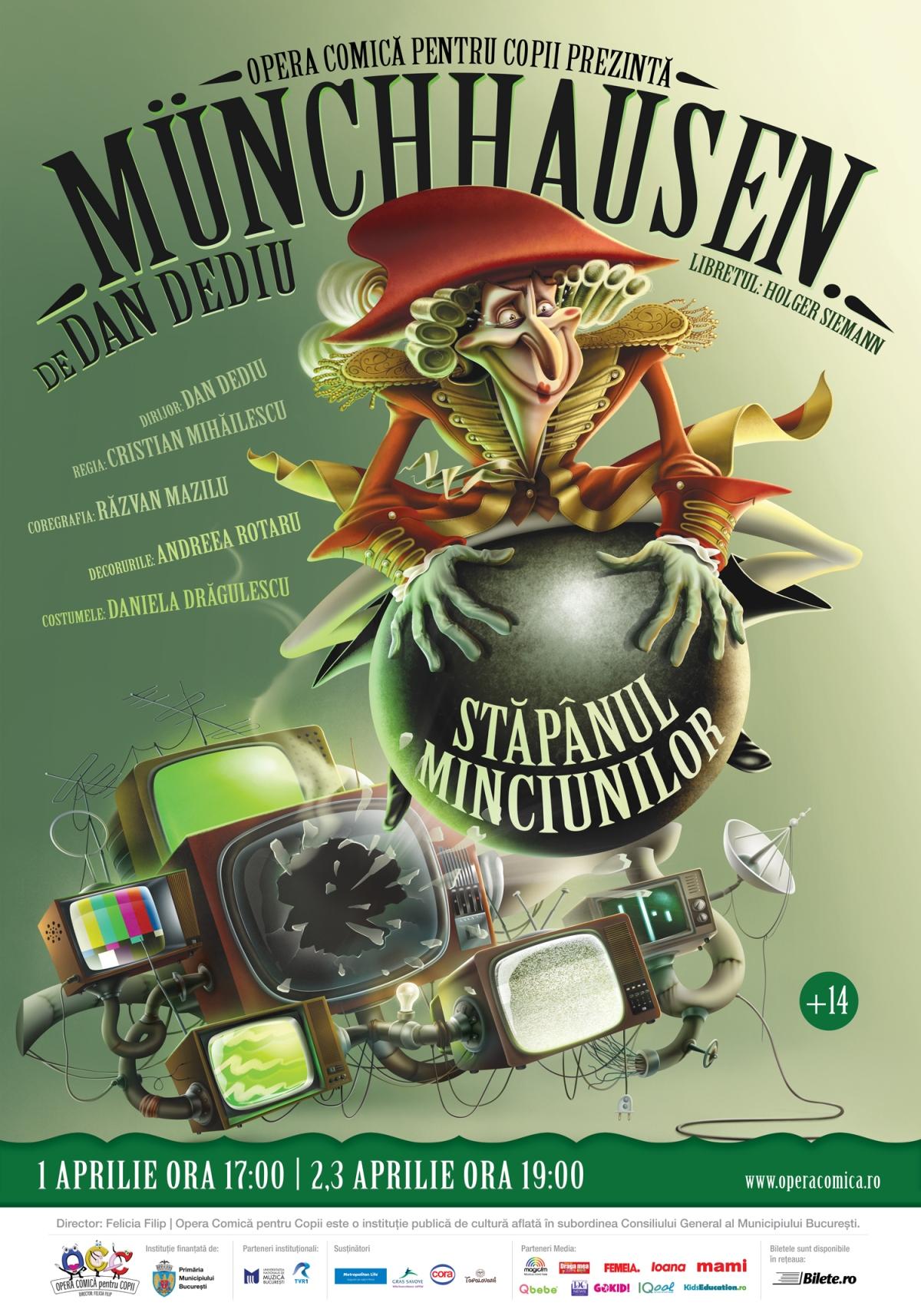 afis Munchhausen - Stăpânul minciunilor. Opera Comică pentru Copii