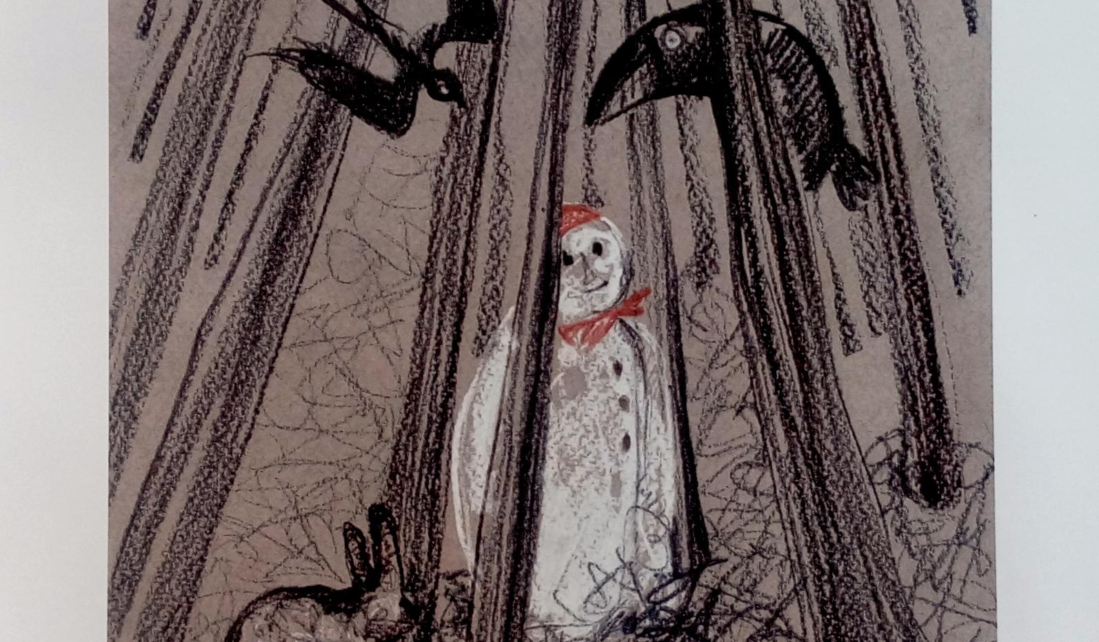 Omul de zăpadă care voia să întâlnească soarele - ilustraţie Andra Bădulescu