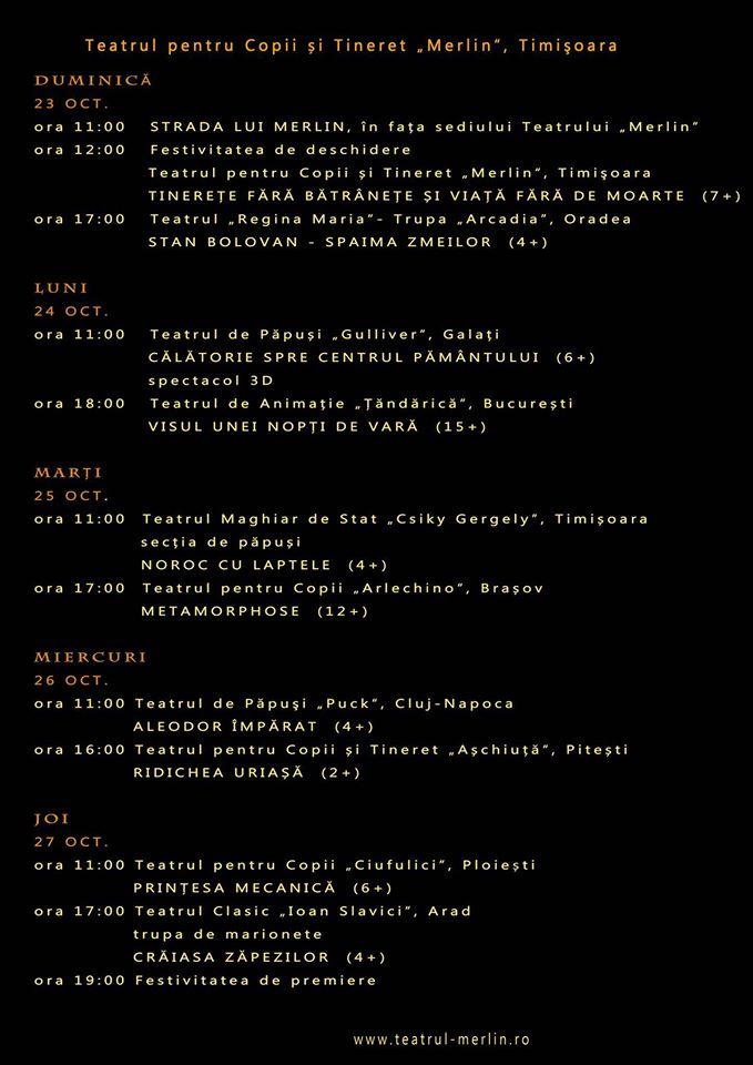Programul festivalului Teatrului Merlin - octombrie 2016